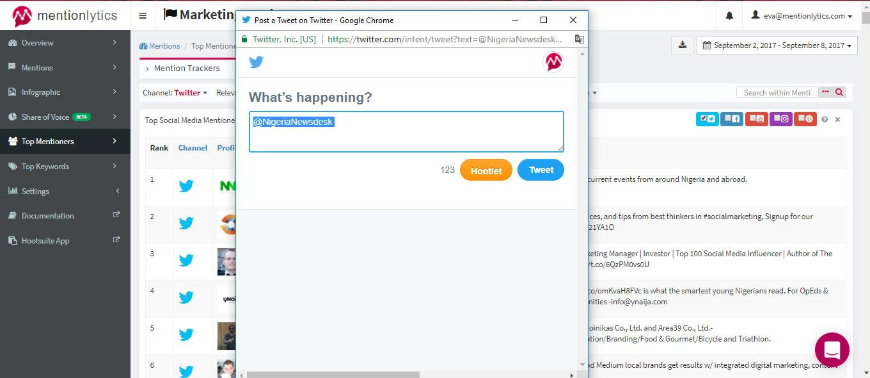 Directly tweet digital influencer