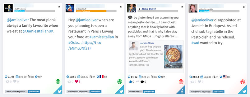 Sentiment Analysis for Jamie Oliver from Mentionlytics dashboard