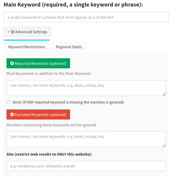 Mentionlytics restrict search