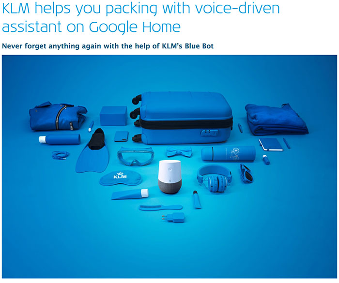 KLM-helps-you-packing-with-voice-driven-assistant - social media trends of 2018