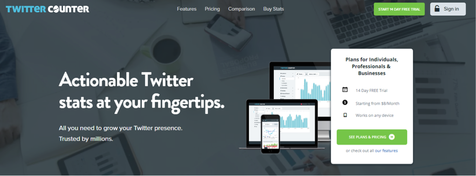 TwitterCounter - twitter analytics