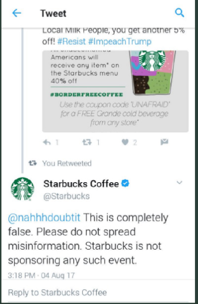 Starbucks-responded-tweet online reputation management