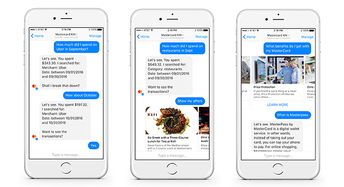 Mastercard Facebook Messenger chatbot online reputation management
