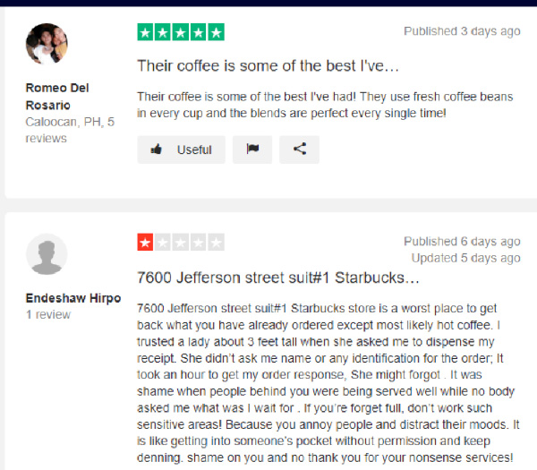 trustpilot - Starbucks - Public Opinion Monitoring