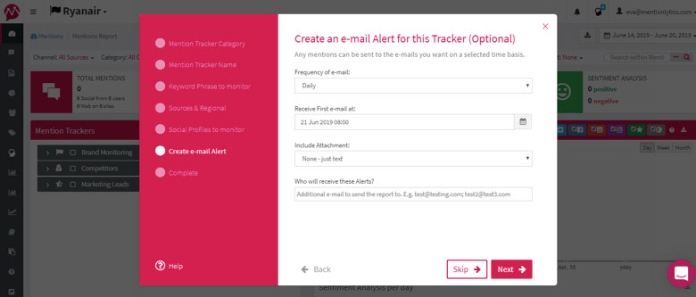 Setting the Email alert - team collaboration