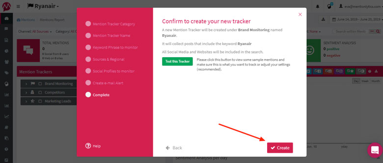 Test the keyword tracker if needed and select create - team collaboration