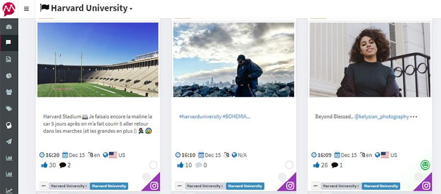 Instagram mentions- Harvard University